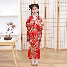 New Japanese Childrens Girls Red with Flower Prints Long Kimono Outfit gjk2