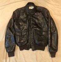 Vintage LL Bean Leather Jacket - Mens 38 Bomber Jacket - Dark Brown