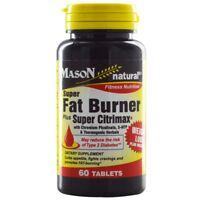 MASON NATURAL THERMOGENIC FAT BURNER Chromium Garcinia 5HTP Yerba Mate Caffeine