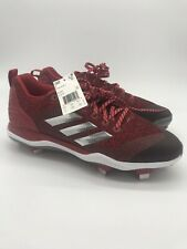 Adidas Poweralley 5 Mid Metal Baseball Cleats Red (B39195) size 11 Men's