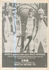 """(ANEW11) ADVERT 15X11"""" U2 : WHO'S GONNA RIDE YOUR WILD HORSES SINGLE"""