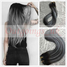 Natural Remy Clip In Hair Extensions Ombre Grey Highlight Human Hair Extensions