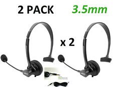 2 Pack of 3.5mm Hands-Free Mono Headset with Boom Mic for Cell PC Laptop Office