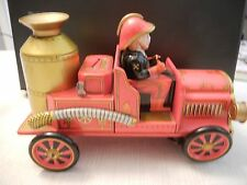 Vintage Tin Litho FIRE TRUCK Engine Battery Operated By Modern Toys -  Japan
