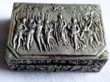 VTG Botticelli Primavera scene pill trinket small Box Repousse silver tone metal