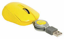 Retractable Cable Mini Optical 3 Button Scroll USB Mouse for Laptop PC Yellow