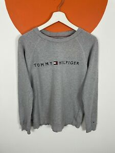Women's Tommy Hilfiger Spell Out Sweatshirt Sweater Top Grey UK Size 8 S Small