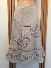 ❤️ Per Una Linen Mix Grey Long Flared Skirt Size 12 Summer Holiday