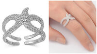 Sterling Silver 925 PRETTY STARFISH DESIGN SILVER BAND RING 14MM SIZES 4-13