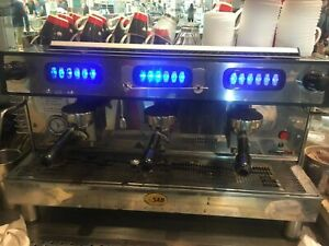 SAB 3 GROUP STAINLESS STEEL ESPRESSO COFFEE MACHINE COMMERCIAL. 6 years old.