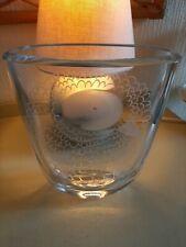 Retro Orrefors Scandinavian Signed Etched Large Clear Glass Vase Bird Design