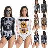 Women Skeleton Bone Horror Halloween Party Bodysuit Bodycon Jumpsuit Romper Tops