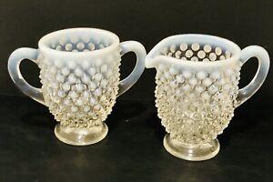 Fenton Hobnail Opalescent Glass Individual Creamer and Sugar Dish Vintage