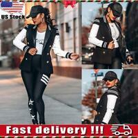 Womens Ladies Striped Bassball Classic Casual Bomber Jacket Vintage Zip Up Biker
