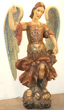 ANGEL SAINT MICHEAL 5ft   HAND CARVED  WOOD STATUE =  EARLY 20TH ANTIQUE SANTOS