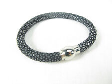 Genuine Polished Stingray Skin Cuff Bracelet Magnetic Lock Black + Free Shipping