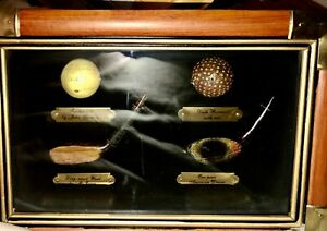 Golf Sports Shadow Box Antique Golf Balls and Club Part Replicas Wall Hanging