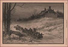 SLEIGH RIDE IN THE SNOW ON CHRISTMAS EVE, PRETTY SCENE BY C. GRAHAM, 1882