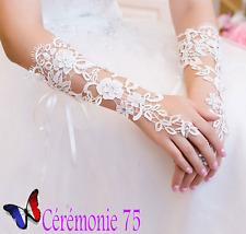 MAGNIFIQUES mitaines / gants mariée mariage Dentelle IVOIRE et Strass