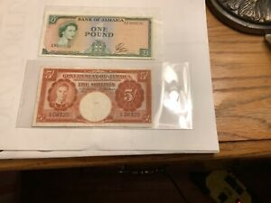 1940 Jamaica 5 Shillings Notes And 1960 Jamaica One Pound Note