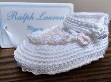 NEW! Ralph Lauren BABY Girl Hand Crochet Booties NEWBORN White