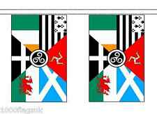 Pan Celtic Nations Polyester Flag Bunting - 9m long with 30 Flags