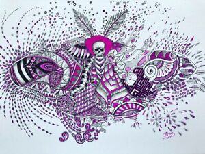 Surreal Moth Tattoo Pink A4 Pen&ink colour Signed Original Art Painting Drawing