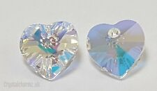 2x 10mm Genuine Swarovski Love Heart Clear Crystal AB Beads Pendants 6202