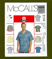 Men's Hawaiian Style Shirt Sewing Pattern (Size XLarge~46, 48) McCalls 2149