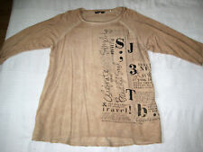 SOCCX Long Shirt 3/4 Arm beige schwarz Pailletten Gr. 40 L wie NEU