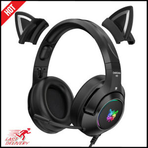 HOT!!! Headset Gamer Black Cat Ear Headste Cute w/ Microphone RGB Gaming Overear