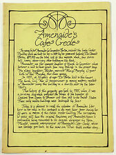 Vintage Full Size Dinner Menu Amenaide'S Cafe Creole New Orleans Louisiana