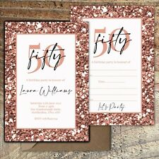 BIRTHDAY INVITATIONS 50th Rose Gold Glitter Effect Personalised/Blank PK 10