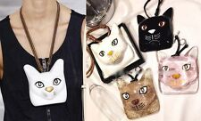 Large Oversize Cat Face Head Resin Bag Charm Necklace Leather Street Hand Paint