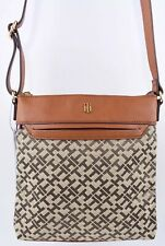 TOMMY HILFIGER Shoulder / Crossbody Monogram Bag, With Card Holder, Khaki/Tan