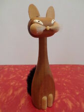 Vintage Stylized Kitty Cat Wood Clothes Brush Made in Italy Fun Kitten Whiskers