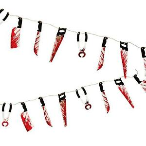Halloween Bloody Weapons Blood Knife Saw Hanging Home Decoration Prop 2.4M
