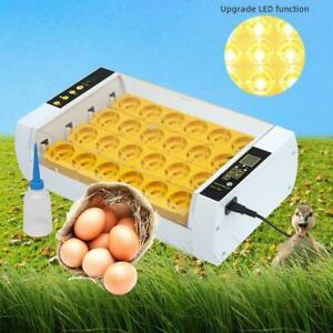 LED Light 24 Egg Incubator Hatcher Automatic Turning Temperature Control US Plug