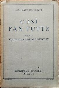 Lorenzo Da Ponte The Music Di Wolfgang Amadeus Mozart Milan Ricordi Libro 1936