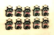 10 x Enamel Cat Charms Pendants 19 x 14mm - Jewellery Making Crafts - FREE POST