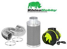 "4"" Rhino Hobby Carbon Filter & HighPro TT Fan Extraction Kit 5m Ducting & Clips"