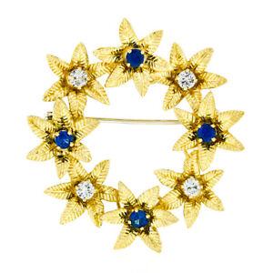 Vintage 18k Gold 1.19ct Brilliant Sapphire & Diamond Etched Flower Wreath Brooch