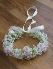 Gypsophila Baby's Breath Flower Crown Halo Hair Bridal bridesmaid pink roses