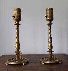 Pair Of Antique 1920s Art Nouveau Candlestick Table Lamps