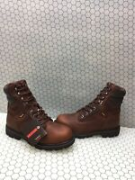 Wolverine FARMHAND HI Brown Leather Lace Up Waterproof Work Boots Men's 10 EW