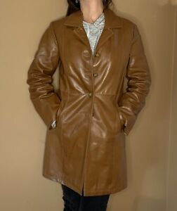 Genuine Italian Leather Jacket Coat Trench Vera Pelle Saddle Brown Size 44 Woman