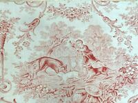 Antique French Toile Fabric Red and White Roses Floral Birds Romantic