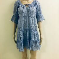 Exetera Label Powder Blue Eyelet Cotton Dress Size 1 (AUS 8) 100% Cotton.