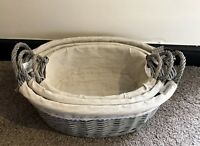 Wickerland Set of 3 Wicker Grey Baskets with Removable Washable Fabric Lining