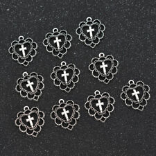 10pcs Christian Cross Beads Pendant Hollow Out Heart Antiqued Silver Alloy Charm